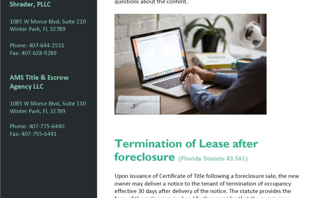 Volume I: Termination of Lease After Foreclosure